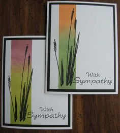 handmade sympathy cards by Patsy Collins ... strip masked and sponged ... cattails image & sentiment inked in black ... black mat frames the white image layer ...