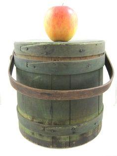 Antique Firkin with Original Dry Green Paint AAFA Primitive | eBay