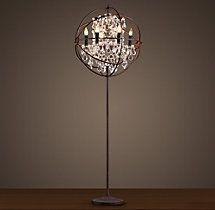 Foucault's Iron Orb Crystal Floor Lamp Rustic Iron | Crystal | Restoration Hardware
