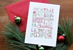 Hand-drawn Christmas Greetings - Letterpress Holiday Cards
