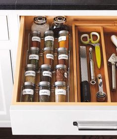 Designate a drawer (in a cool spot, away from the oven) for your 12 most frequently used spices. Whole spices are good for three years, ground spices for two.