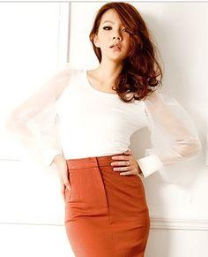 Charming Chiffon Lantern Sleeve Skirt White