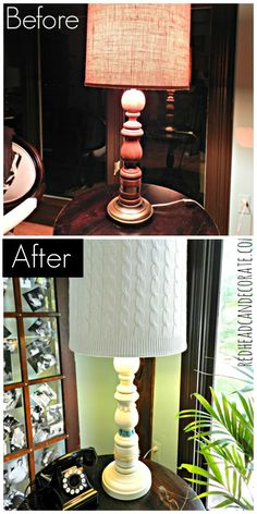 $4 Thrift Store Lamp Makeover w/ an Old Sweater & Mom's Jewelry~ Redhead Can Decorate #lamp #makeover sweater, store lamp, lamp shade, lampshad, redhead, decor lamp, thrift store, diy, lamp makeov
