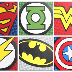 Superhero logo canvases.  Boy room decor...