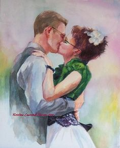 I need to learn how to paint with watercolors! Love this!    Custom Watercolor Portrait of the Bride and Groom by Krystyna81, $600.00
