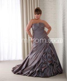Brilliant A-line Strapless Floor-Length Chapel Ruched Plus Size Wedding Dresses