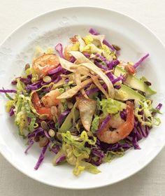 Shrimp and Avocado Salad With Crispy Tortillas.