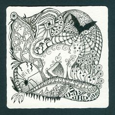 Photo Gallery: Zentangles » Zentangle Tiles » Hallwoeen Tangle 4