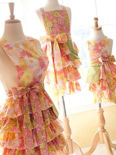 vintage sheet aprons with lots of ruffles