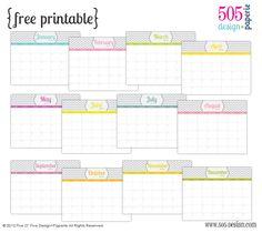 505 Design - free printables free_calendar2012