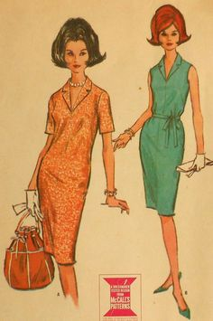 1960's Vintage Collared Dress Sewing Pattern