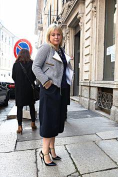 Claudia Mahoney spotted wearing the Jimmy Choo MYSTIC pump at Milan Fashion Week