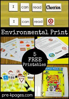 5 Free Environmental Print Activities for Preschool and Kindergarten