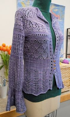 The Perfect Fit Seamless Crazy Lace Cardigan by Myra Wood. malabrigo Silky in London Sky colorway. knit happi, knit sweater, crochet cloth, crazi lace, lace cardigan, beauti knit