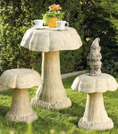 Decorate your backyard or garden with our enchanting Stonecast Mushroom Table and Stools- a great addition both decoratively and functionally!
