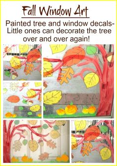 Fall Window... Fun for Kids ~ To paint the tree, use washable acrylic paint.  It easily washes off the window and does not chip off as much as the washable tempera paint.  You can also add some grass and pumpkins to the window.  Then, once it is dry, your little one will have a blast decorating the Fall tree using leaf window decals {purchased from The Dollar Tree.} activities for kids, kid activities, fall window, painted trees, windows, fall trees, art kids, art tree, window art