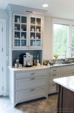 built in hutch ideas   Transitional Kitchen Design with Pale Blue Shaker Style Cabinets