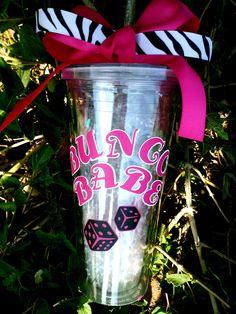 Customized I Love Bunco/ Bunco babe 20 oz. Acrylic cup w/straw.. $18.00, via Etsy.