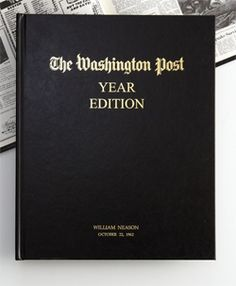 How about a 50th anniversary book filled with all of the main headlines from the past 50 years in The Washington Post. You can have this personalized in gold for your anniversary couple.   More 50th anniversary gift ideas http://www.anniversary-gifts-by-year.com/50th-wedding-anniversary-gift.html