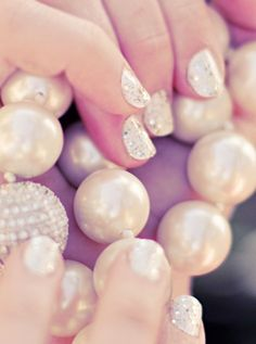 Search no further for a #wedding-worthy manicure! These glittering tips will complement a classically chic bridal gown perfectly.