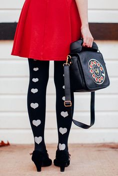 heart printed tights