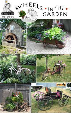 DIY Garden Art: Wheels In The Garden at empressofdirt.net