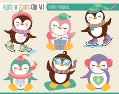 Winter Penguins Clip Art - color and outlines