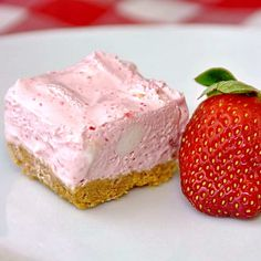 Strawberry Chiffon Squares - these silky smooth treats taste like strawberry ice cream when you freeze them. Our family has always devoured them straight out of the freezer.