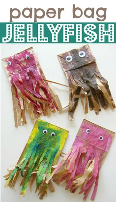 Create some colorful underwater friends with this Paper Bag Jellyfish Craft from @Allison j.d.m j.d.m @ No Time For Flash Cards. Explore what happens when you mix colors. learn all about creating textures (with adults cutting the paper of course) and discuss just what this marine animal is all about!