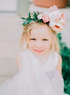 Adorable flower girl hair: http://www.stylemepretty.com/missouri-weddings/springfield-mo/2014/09/23/fun-and-feminine-wedding-inspiration-shoot/ | Photography - Jordan Brittley - http://jordanbrittley.com/