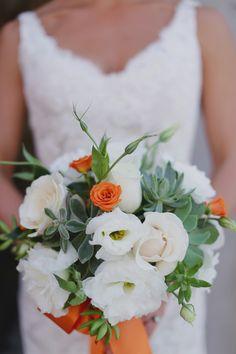 orange and white boquet
