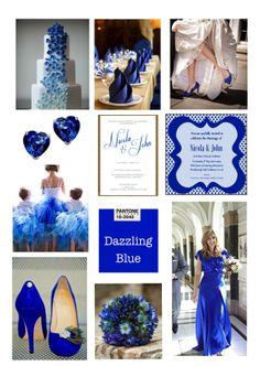 Pantone Dazzling blue wedding collage @Kathy Chan Chan Davis-Reid Bird Invites #weddinginvitation