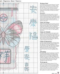Cross-stitch Oriental Design Butterfly, part 3..  color chart on part 2