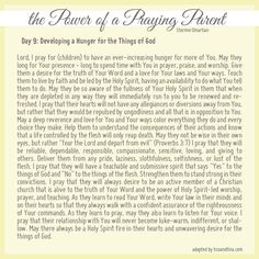 Prayer for developing a hunger for the things of God - the power of a praying parent prayer, pray parent, parents day, spiritual parenting, power of a praying parent, kid