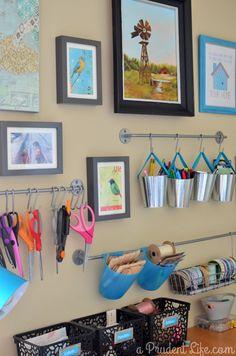 Organized craft room gallery wall