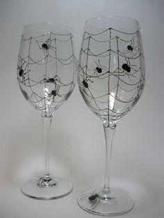 Spooky Halloween 15 7/8 oz Wine Glasses  Hand by GlassWorksEtc, $40.00