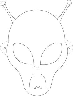 Alien mask printable coloring page for kids