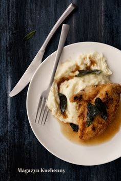 Chicken breast with cauliflower potato purée and sage brown butter
