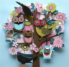 Owl 3D collage tree