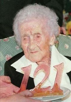 this is Jeanne Calment, was anyway. She passed away in 1997 at the age of 122 years and 164 days old. She learned to fence at 85, and was still riding a bicycle at 100. At 113 she was known as the last living person to have personally met Vincent Van Gogh!  She lived alone until 110 and was able to walk upright until almost 115.  Let;s all raise a glass for Jeanne Calment :) for living one of the longest lifetimes in documented history.