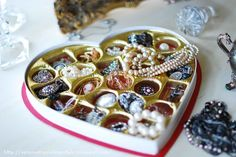 Valentine Chocolate Candy Box upcycled to hold Jewelry