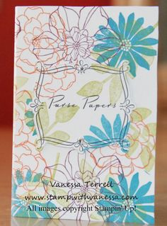 Stamp with Vanessa - great little project that holds papers for your purse stamped with Secret Garden stamp set.