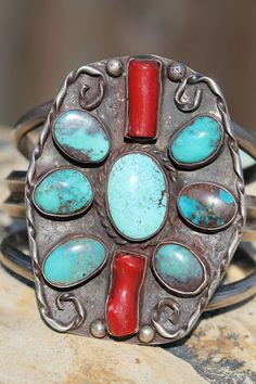 VINTAGE NAVAJO STERLING SILVER BISBEE TURQUOISE & RED CORAL BRACELET DEAD PAWN $995.00
