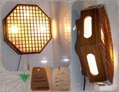 Lámpara teka y tela. Teak and fabric lamp. Panton VTG 50s 60s Mid-Century Eames ¡Vendida! ¡Se va a Australia!
