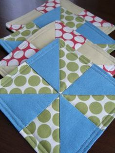 quilted coasters. cute.