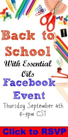 Join us for a FREE Back to School with Essential Oils event!!!!   RSVP: http://bit.ly/EObacktoschool