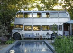 Just a Double Decker bus re-purposed as a backyard Pool House (MessyNessyChic.com)