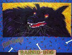Mel Casas  Humanscape 141: Barrio Dog  1987 acrylic 75 x 100 in.  Smithsonian American Art Museum,