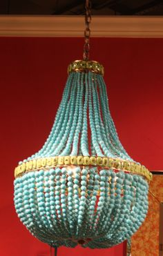 Currey and Co.- Marjorie Skouras turquoise and green empire chandelier.  My favorite chandelier in a brand new price point.  #hpmkt