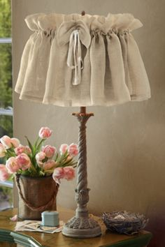 Vintage Linen Lampshade Cover